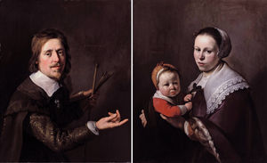 Gijsbert Gillisz de Hondecoutre, holding a palette and brushes and his wife Maria Hulstman, holding a child