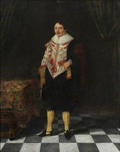 An Unknown English Gentleman Standing in an Interior
