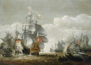 The Battle of Lowestoft, 3 June Showing HMS 'Royal Charles' and the 'Eendracht' (1665)