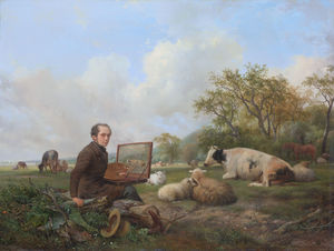 The painter himself, painting in a meadow landscape with cattle.
