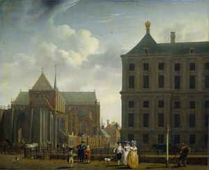 The New Church and the Town Hall on Dam Square in Amsterdam