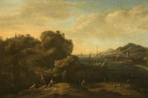 A Rocky Mediterranean Coast with Peasants and a Galley
