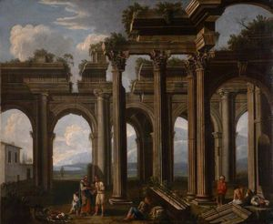 Architectural Capriccio, with the Ruins of a Doric Arcade and Corinthian Colonnade, with Lazzaroni and a Fortune-Teller