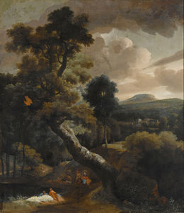 A wooded hilly landscape with figures resting near a stream, horsemen on a path nearby, a view of a town beyond