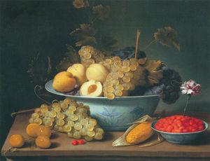 Nature morte aux fruits dans des porcelaines