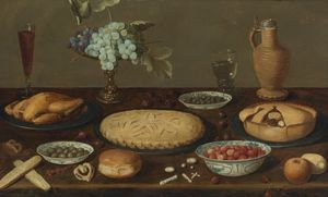 Still Life with Meat Pies, a Roast Fowl, Olives, Capers and Strawberries
