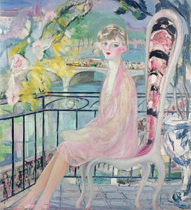 Portrait of Dolly Davis on a Balcony in Front of the Old Bridge of Alma