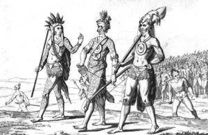 Timucua warriors with weapons and tattoo regalia