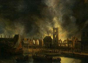 The Old Town Hall of Amsterdam on Fire