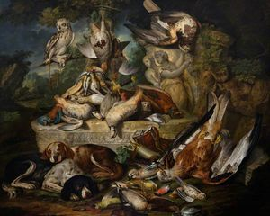 Hounds and an Owl with Dead Birds and Sculptures in a Landscape