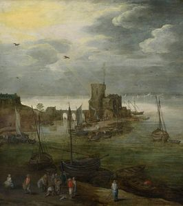 Harbor view with fishermen