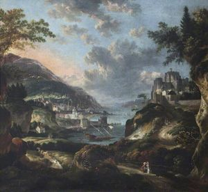 An Imaginary Eastern Port with Figures and Animals, with Dover