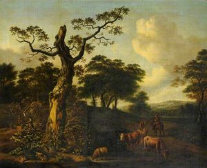 Extensive Wooded Landscape with Herdsmen and Cattle on a Road