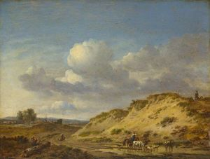 Peasants driving Cattle and Sheep by a Sandhill, and Two Sportsmen with Dogs