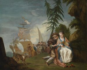 A gallant couple in front of Embarkation for Cythera