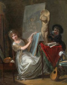 A Studio Interior with a Young Woman Painting by Jean-Baptiste Mallet