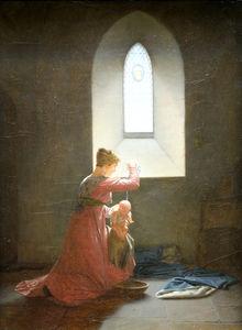 Genevieve of Brabant in prison baptizing his son.