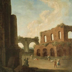 A capriccio with figures amongst ruins