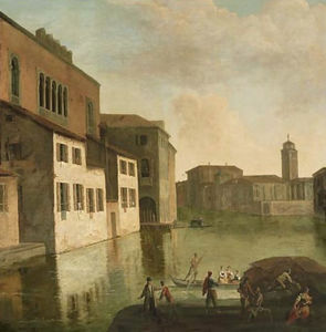 Venice, a view of the Fondaco dei Turchi, the canal of the Canareggio with the church and campanile of San Geremia in the distance