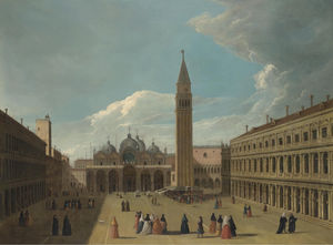 Venice, a view of the piazza san marco, with figures gathered round an artist painting a portrait on a stage