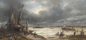 Fisherfolk working on the shore