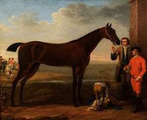 A Bay Racehorse and Attendants