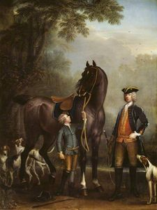 Viscount Weymouth's Hunt The Hon. John Spencer beside a Hunter held by a Young Boy