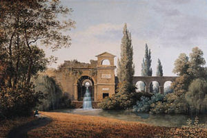 A View of an Aqueduct with an artificial Waterfall, a seated draughtsman in the foreground