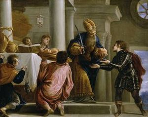 The priest Ahimelech delivering bread and the sword to David