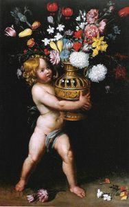 Boy wearing a flower vase