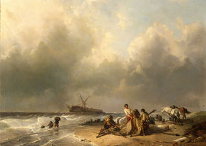 Figures on the beach, a schip wreck in the breakers