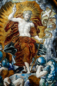The Resurrection, central panel of an altarpiece.