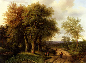Travellers resting on a wooded path