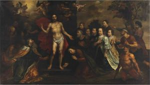 The Apparition of Christ with Saint Peter, James, John, Mary Magdalene, Johanna and Zacheus, with a family portrait