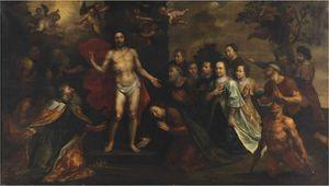 Явление Христа с Святого Петра, Иакова, Иоанна, Мария Магдалина, Джоанна и Zacheus, с семейный портрет