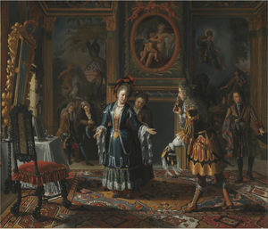 A sumptuous interior with an elegantly dressed gentleman paying court to a lady