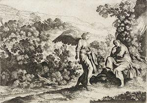Ángel y figura sentada en un paisaje