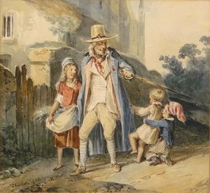 A walk in the old man with three children