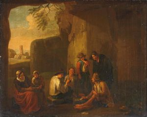 Peasants playing cards in a grotto, ancient ruins beyond