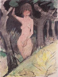 Between trees standing girl