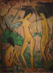 Three nudes in landscape
