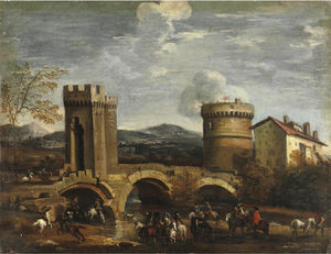 Battle scene from a bridge
