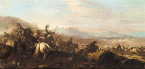 Cavalry battle with a town in the distance to the right