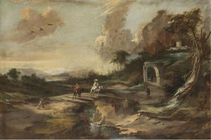Landscape with hikers on a bridge