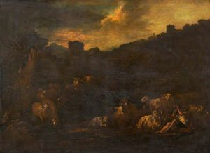 Farm Animals in a Landscape with an Old Man Drinking