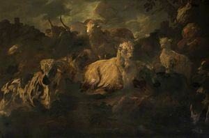 Herdsman Sleeping Amidst His Sheep, Goats and Cattle