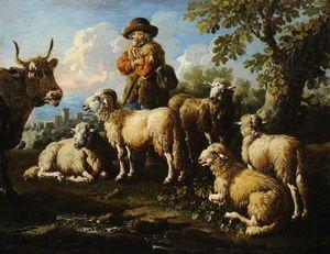 Pastor con ovejas y cabras