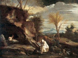 Rocky Landscape with Two Carthusian Monks