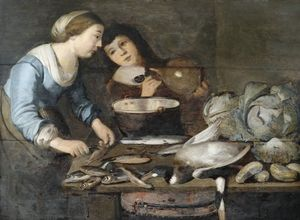 Kitchen interior with a pair of servants in the processing of fish, on the worktable cabbages and a duck