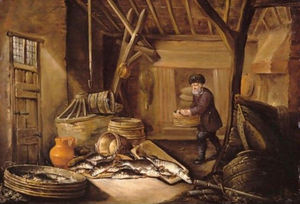 A Fisherman In His Cottage, With His Catch Of Fresh-Water Fish